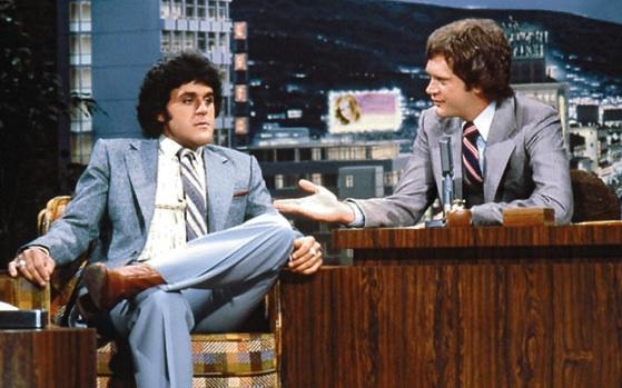Jay Leno ve Dabid Letterman, Letterman'ın stüdyosunda 1979 yılında. İkili şimdi farklı kutupların gözdesi.