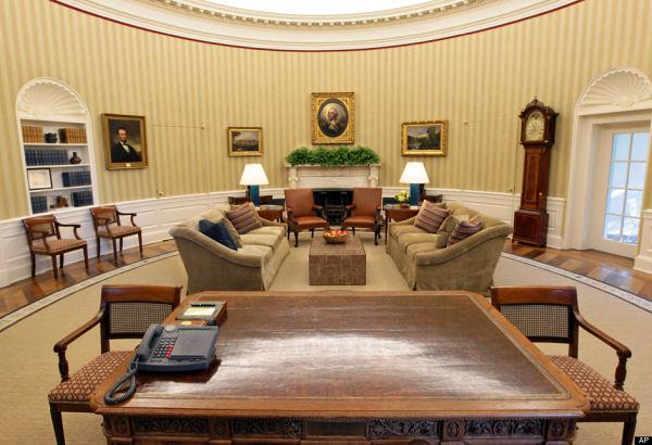 ABD Başkanı'nın oturduğu yerden Oval Ofis'in görünümü